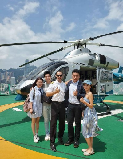 Happy helicopter sightseeing tour